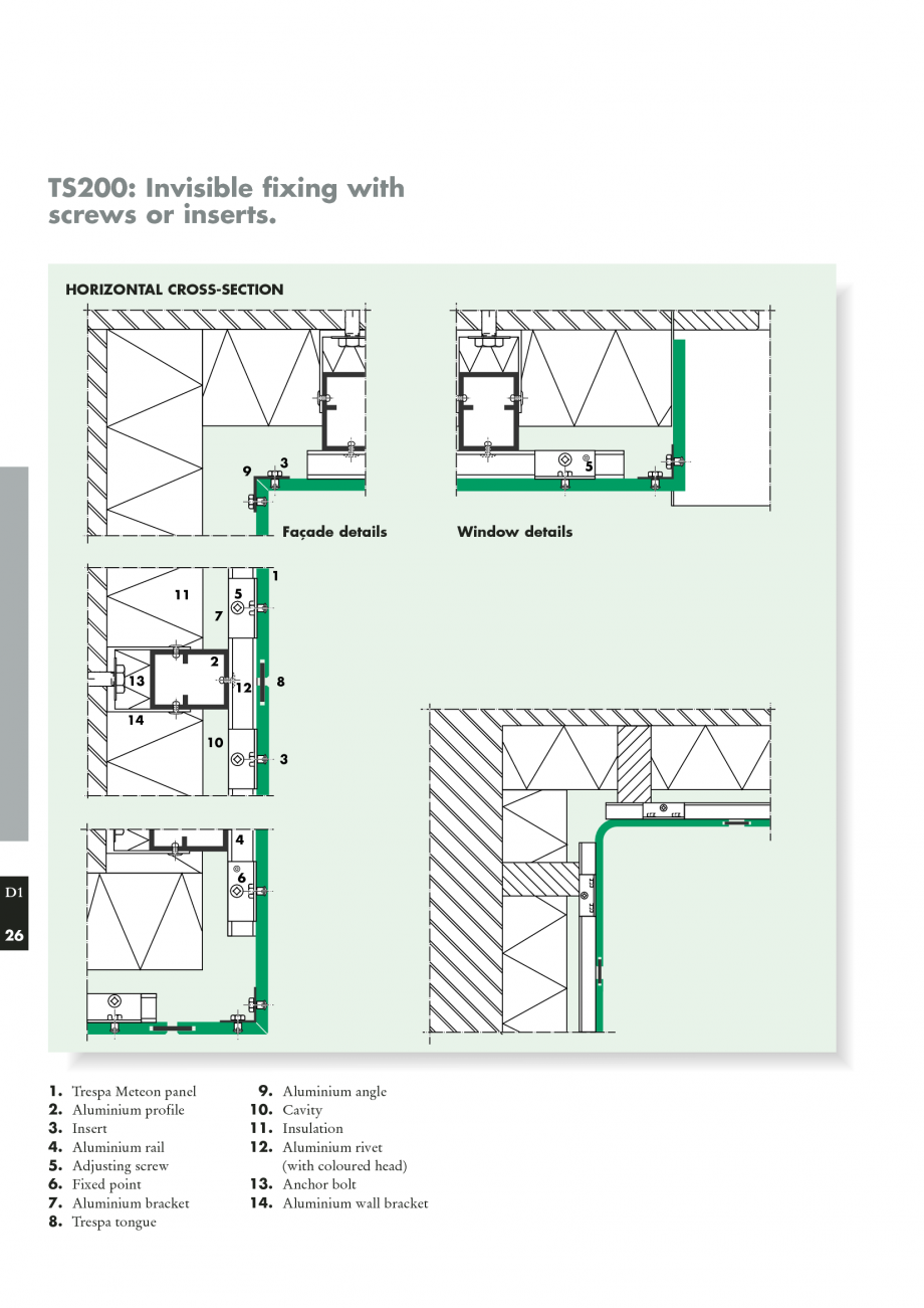 Instructiuni montaj, utilizare Sisteme de panouri pentru fatade ventilate  METEON TRESPA Placi HPL pentru fatade ventilate GIBB TECHNOLOGIES ing I the maximum fixing centres for the panels I the required ventilation provisions I unimpeded... - Pagina 26