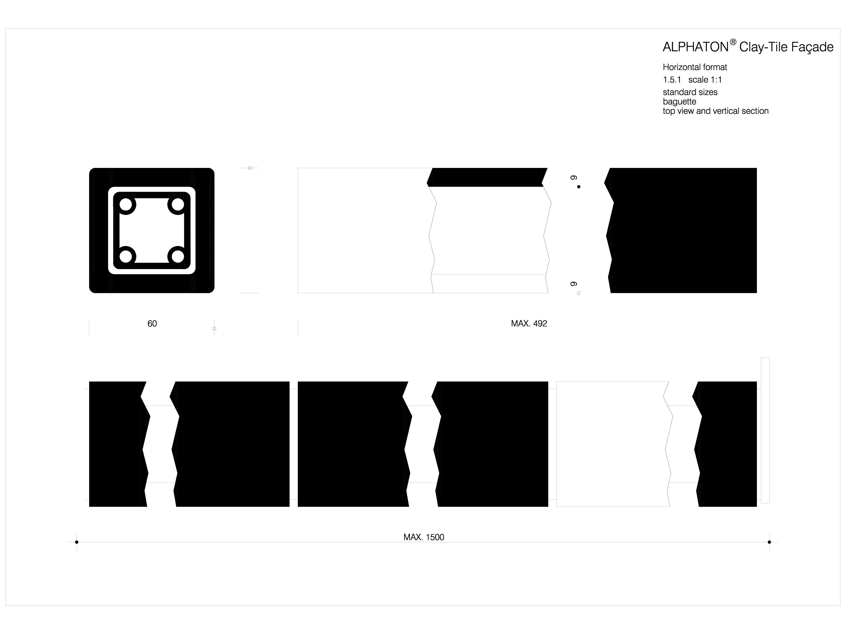 Pagina 1 - CAD-DWG Placaje ceramice pentru fatada - Baghete de dimensiuni standard - Plan si...