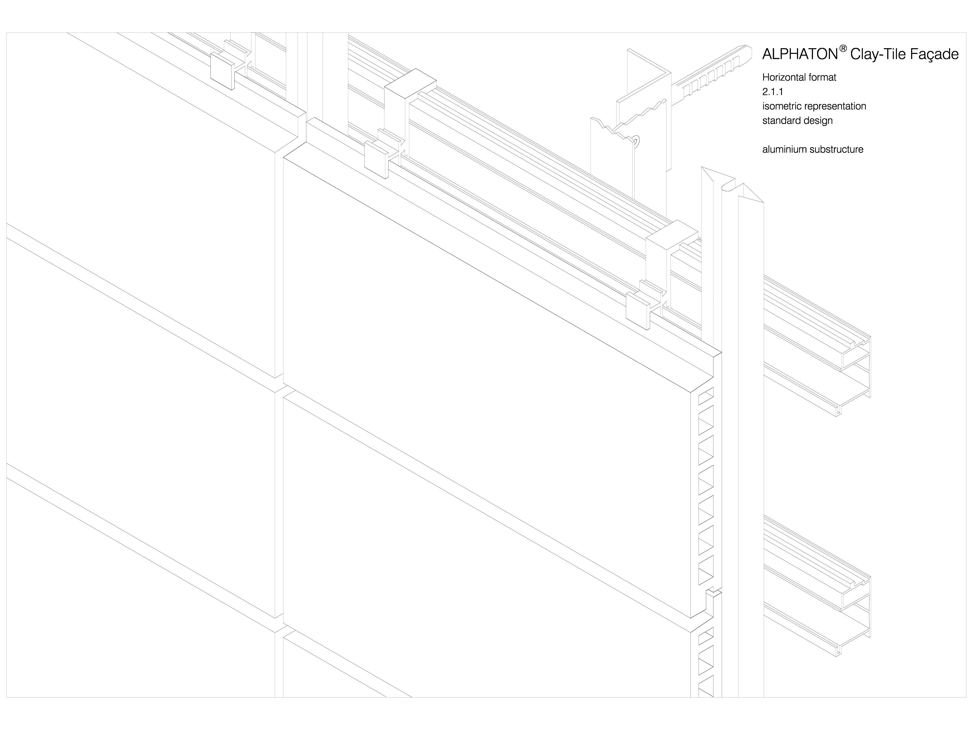 Pagina 1 - CAD-DWG Placaje ceramice pentru fatada - Montaj orizontal - Vedere izometrica ALPHATON...
