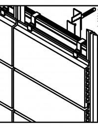 Placaje ceramice pentru fatada - Montaj orizontal - Vedere izometrica