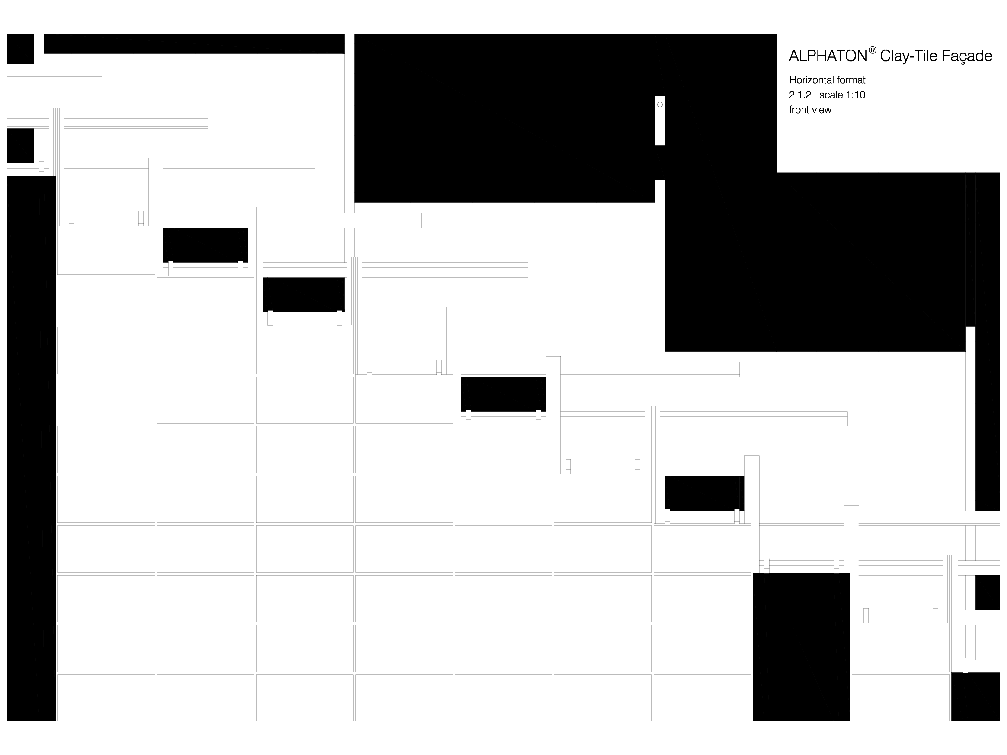 Pagina 1 - CAD-DWG Placaje ceramice pentru fatada - Montaj orizontal - Vedere din fata ALPHATON...