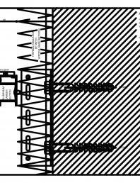 Placaje ceramice pentru fatada - Montaj orizontal pe structura de aluminiu - Sectiune verticala