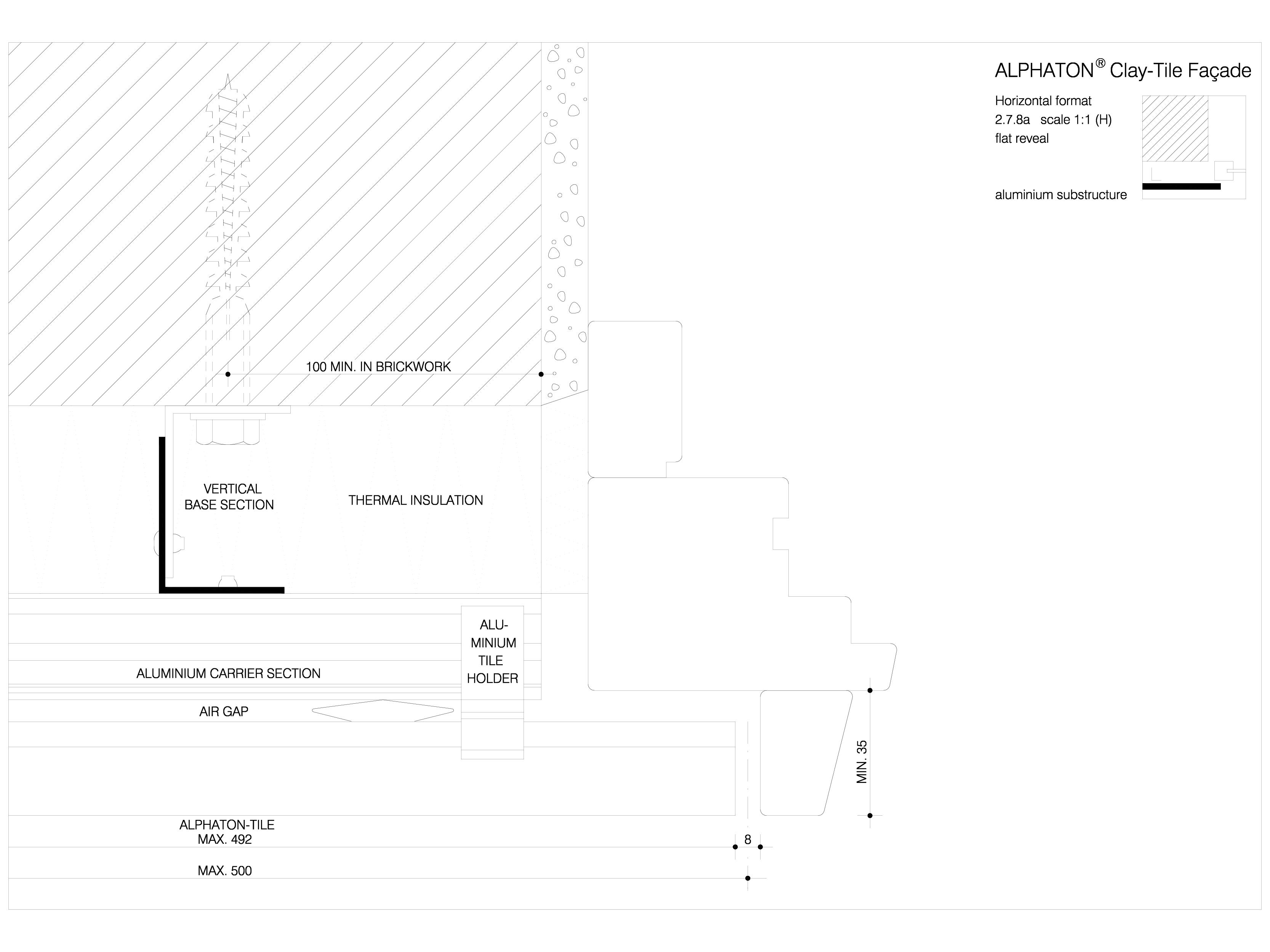 Pagina 1 - CAD-DWG Placaje ceramice pentru fatada - Montaj orizontal pe structura de aluminiu - Plan...