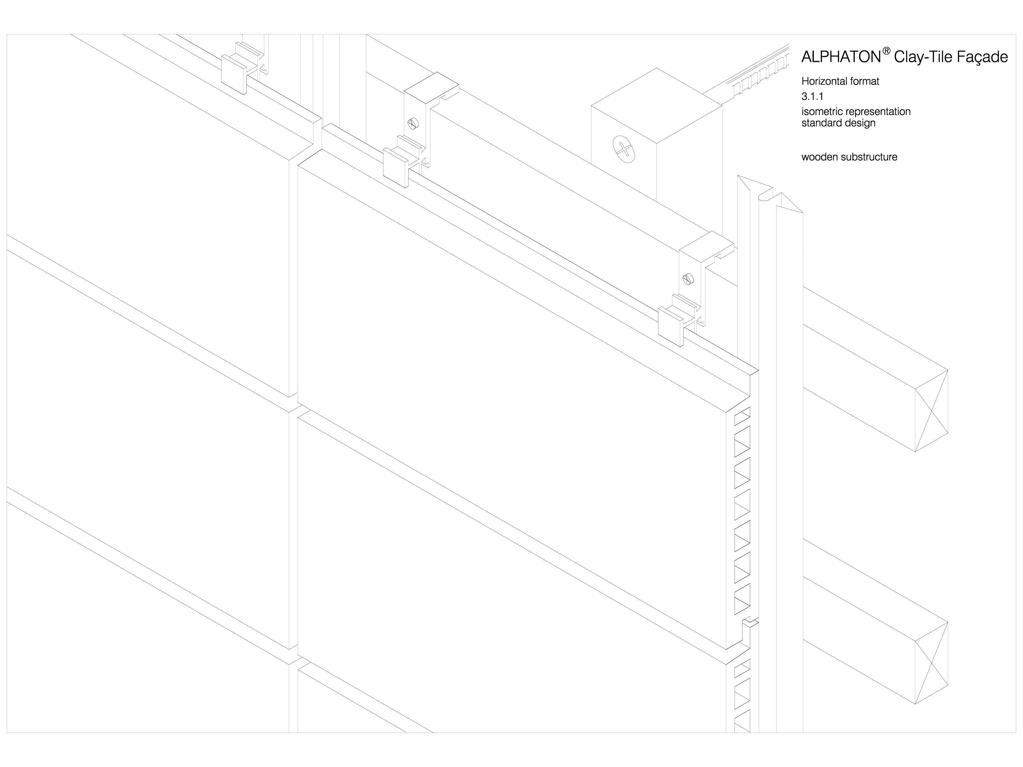 Pagina 1 - CAD-DWG Placaje ceramice pentru fatada - Montaj orizontal pe structura de lemn - Vedere...