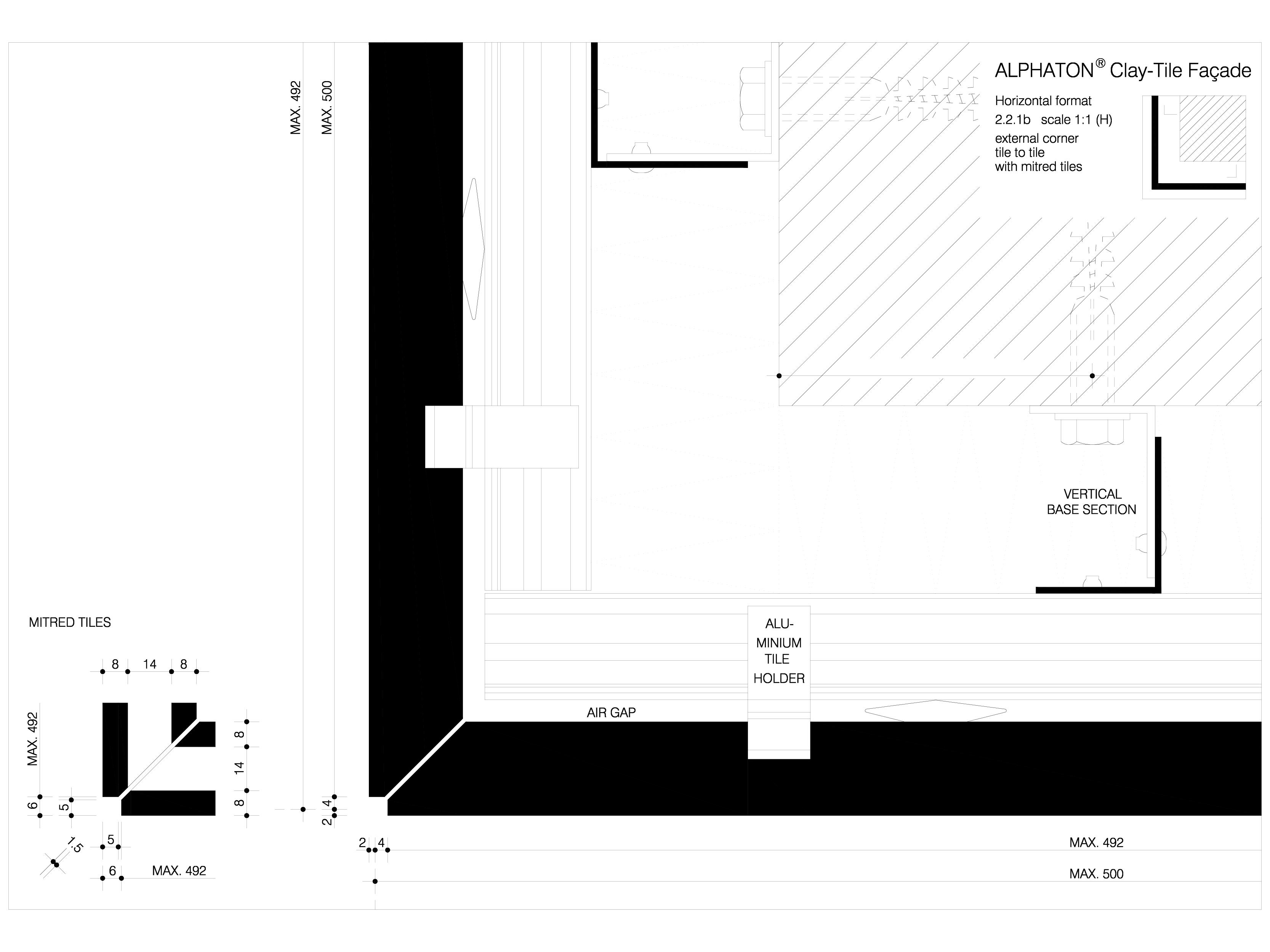 Pagina 1 - CAD-DWG Placaje ceramice pentru fatada - Montaj pe structura de aluminiu - Detaliu colt...