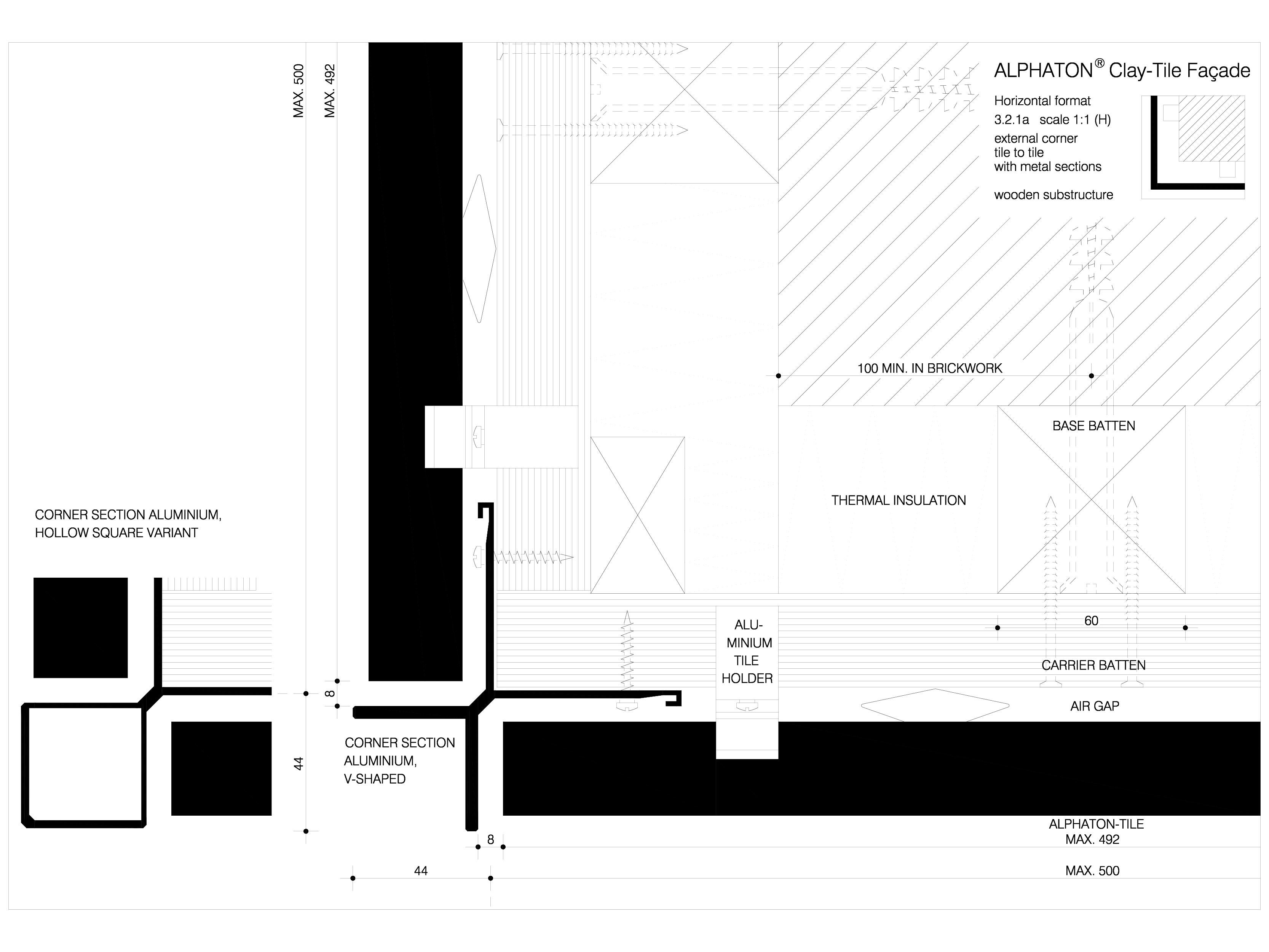 Pagina 1 - CAD-DWG Sisteme de placaje ceramice pentru fatada - 3211 ALPHATON Detaliu de produs...