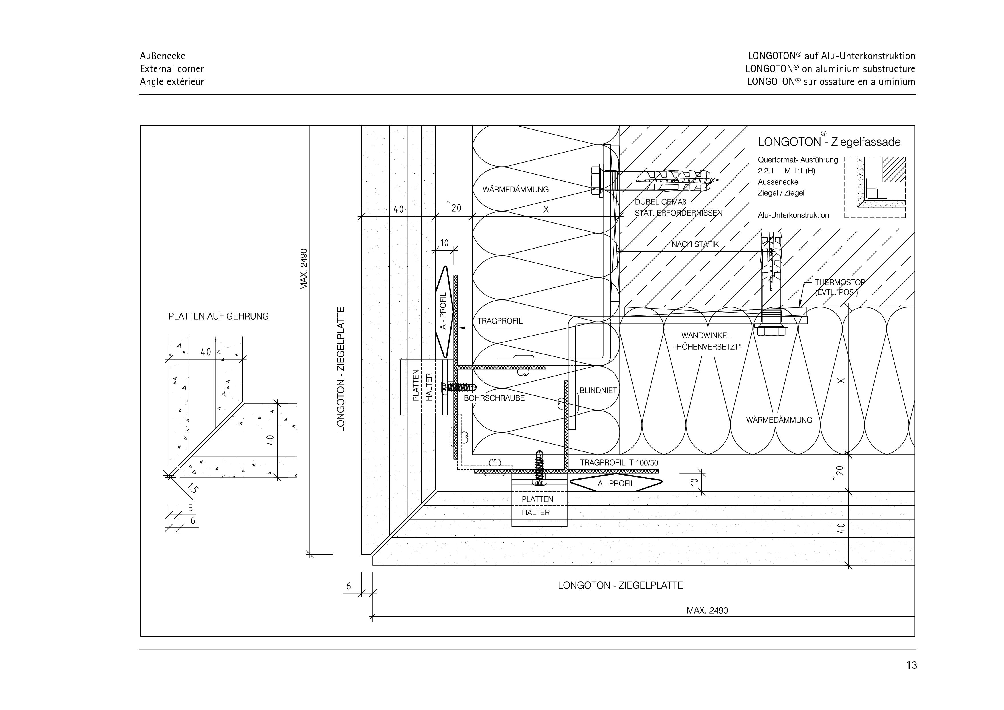 Pagina 13 - CAD-PDF Sisteme de placaje ceramice pentru fatada  ALPHATON Detaliu de montaj LONGOTON