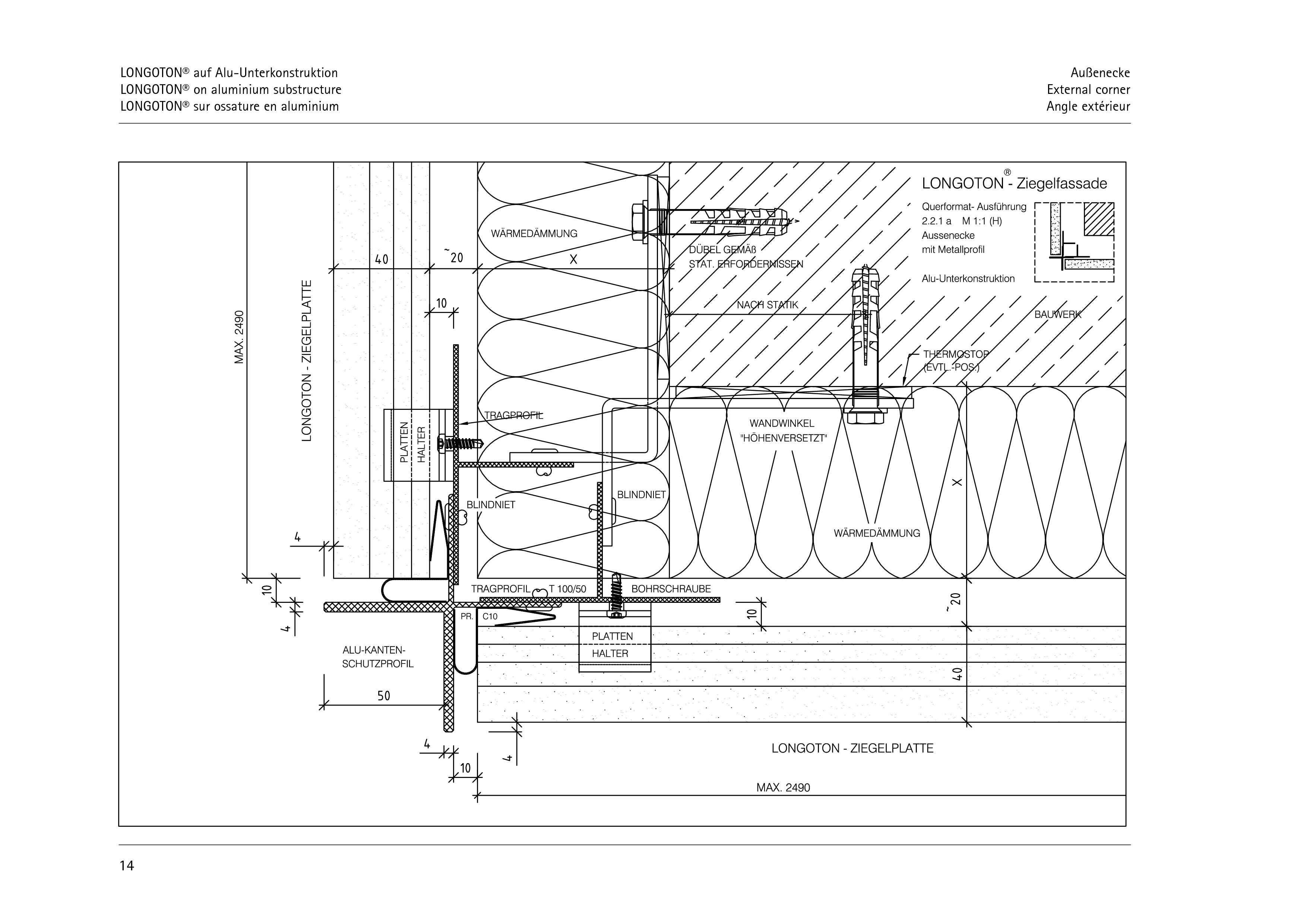 Pagina 14 - CAD-PDF Sisteme de placaje ceramice pentru fatada  ALPHATON Detaliu de montaj LONGOTON