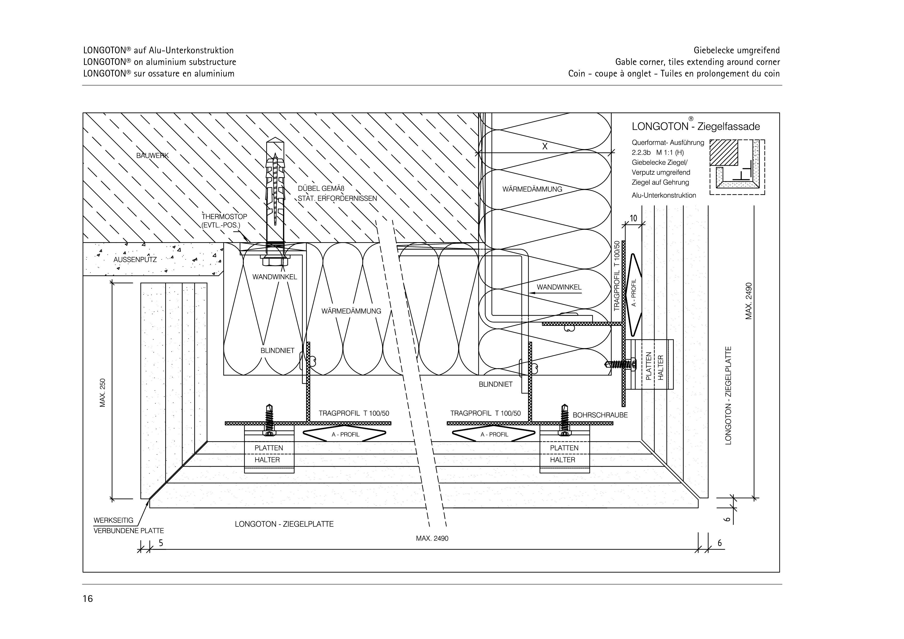 Pagina 16 - CAD-PDF Sisteme de placaje ceramice pentru fatada  ALPHATON Detaliu de montaj LONGOTON