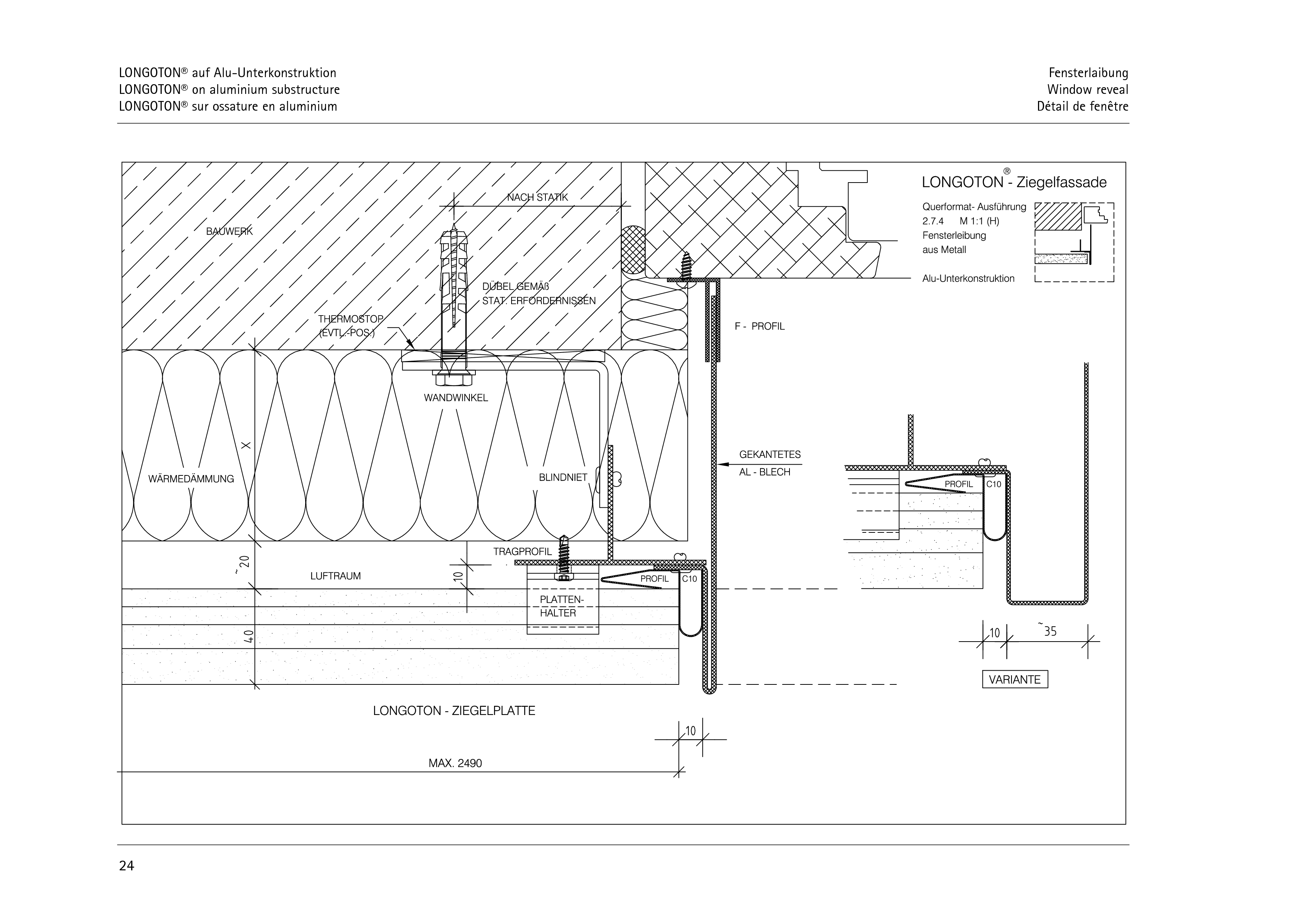 Pagina 24 - CAD-PDF Sisteme de placaje ceramice pentru fatada  ALPHATON Detaliu de montaj LONGOTON