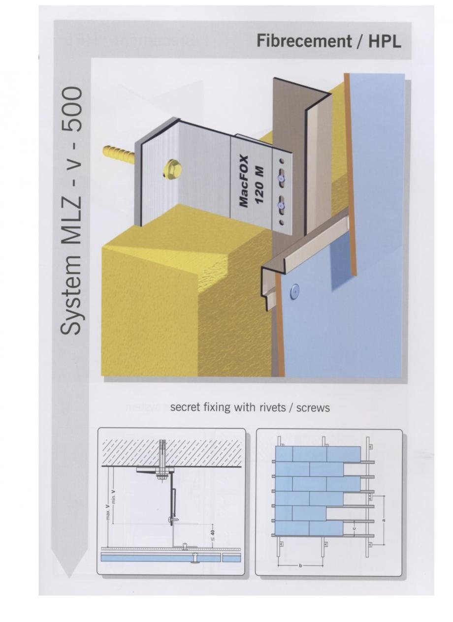 Fisa tehnica Sisteme de fixare pentru fatade ventilate cu placaj din beton armat cu fibra de sticla si cu placaj HPL MacFOX EUROFOX Sisteme de fixare din aluminiu pentru placaje uscate exterioare GIBB TECHNOLOGIES  - Pagina 2