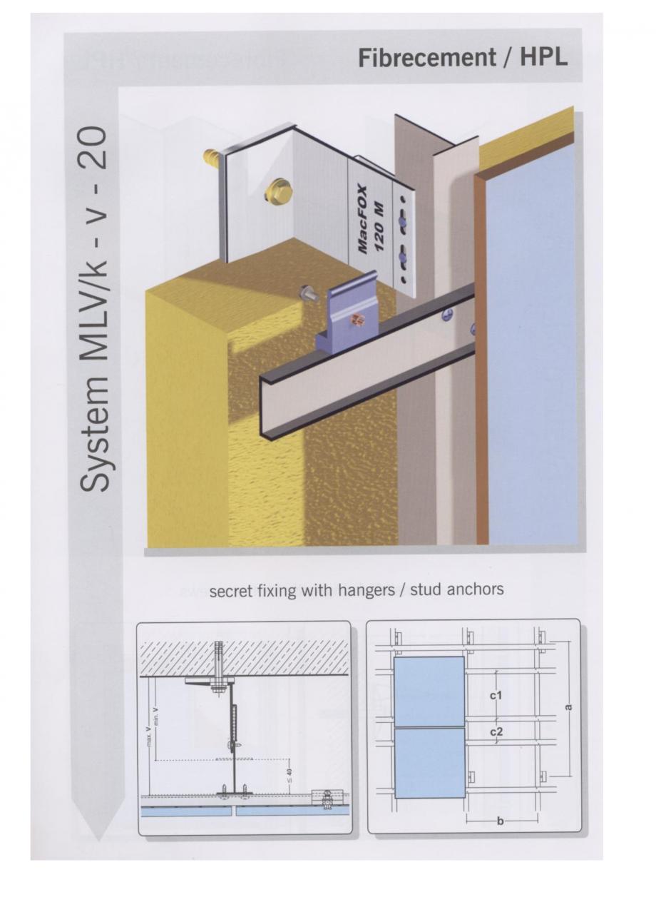 Fisa tehnica Sisteme de fixare pentru fatade ventilate cu placaj din beton armat cu fibra de sticla si cu placaj HPL MacFOX EUROFOX Sisteme de fixare din aluminiu pentru placaje uscate exterioare GIBB TECHNOLOGIES  - Pagina 5