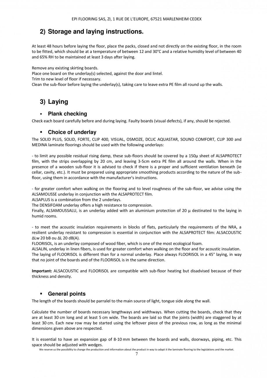 Pagina 6 - Parchet laminat - Utilizare, montaj si informatii - Alsafloor ALSAFLOOR Sardinia Oak 619,...