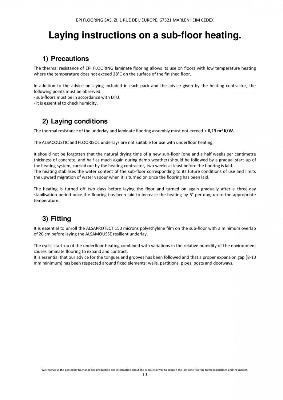 Pagina 12 - Parchet laminat - Utilizare, montaj si informatii - Alsafloor ALSAFLOOR Sardinia Oak 619...