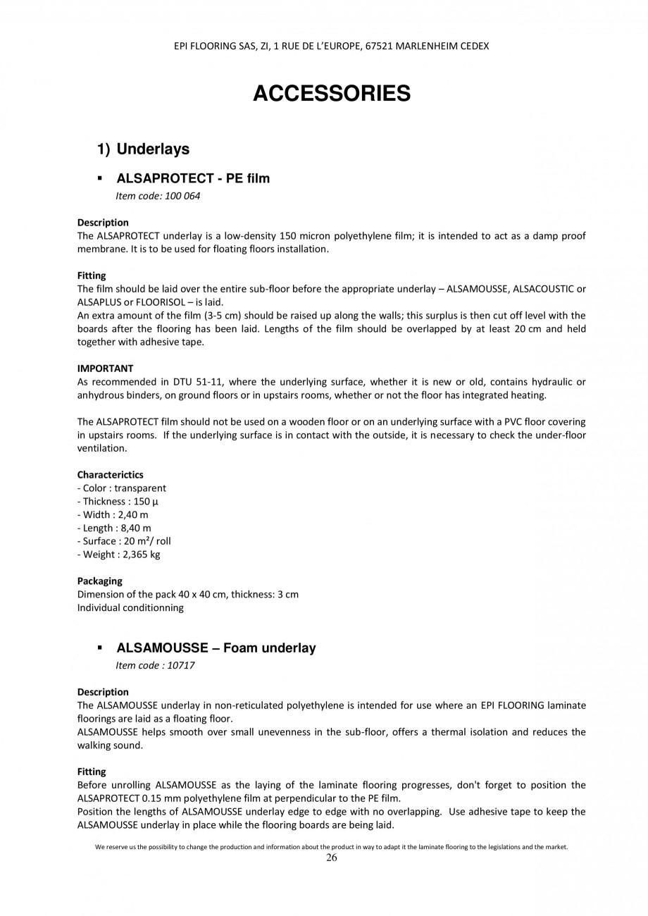Pagina 25 - Parchet laminat - Utilizare, montaj si informatii - Alsafloor ALSAFLOOR Sardinia Oak 619...