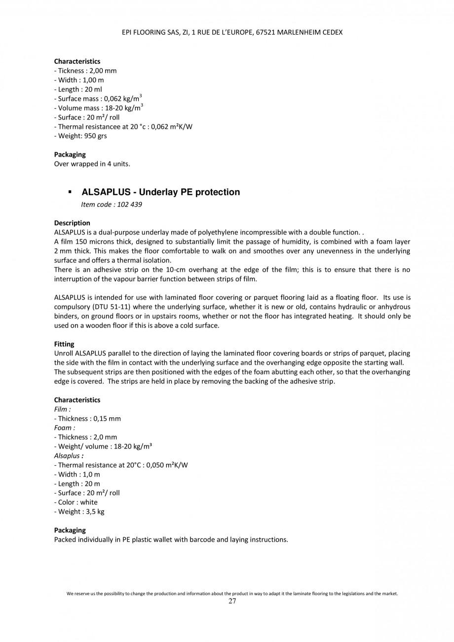 Pagina 26 - Parchet laminat - Utilizare, montaj si informatii - Alsafloor ALSAFLOOR Sardinia Oak 619...