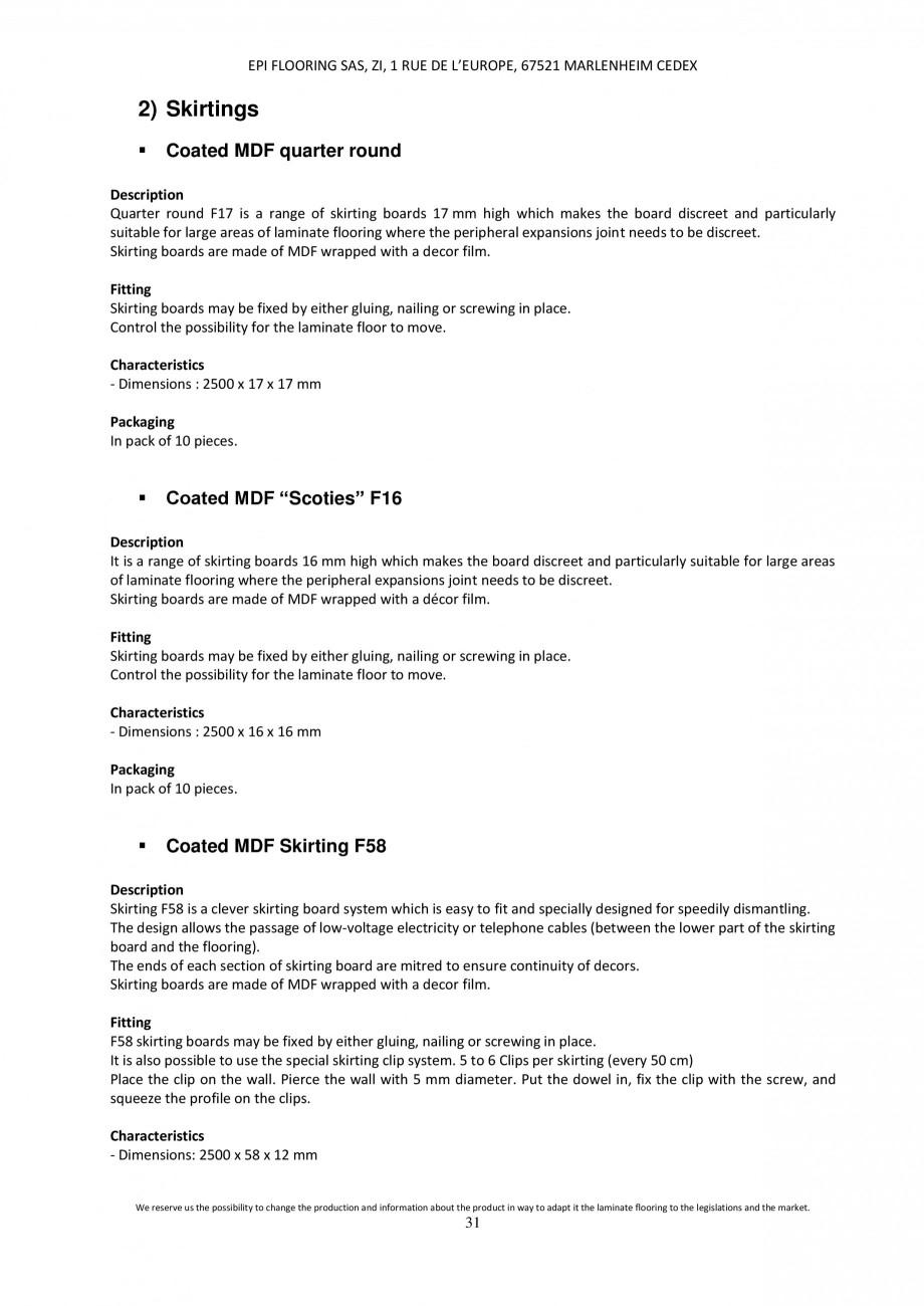 Pagina 31 - Parchet laminat - Utilizare, montaj si informatii - Alsafloor ALSAFLOOR Sardinia Oak 619...