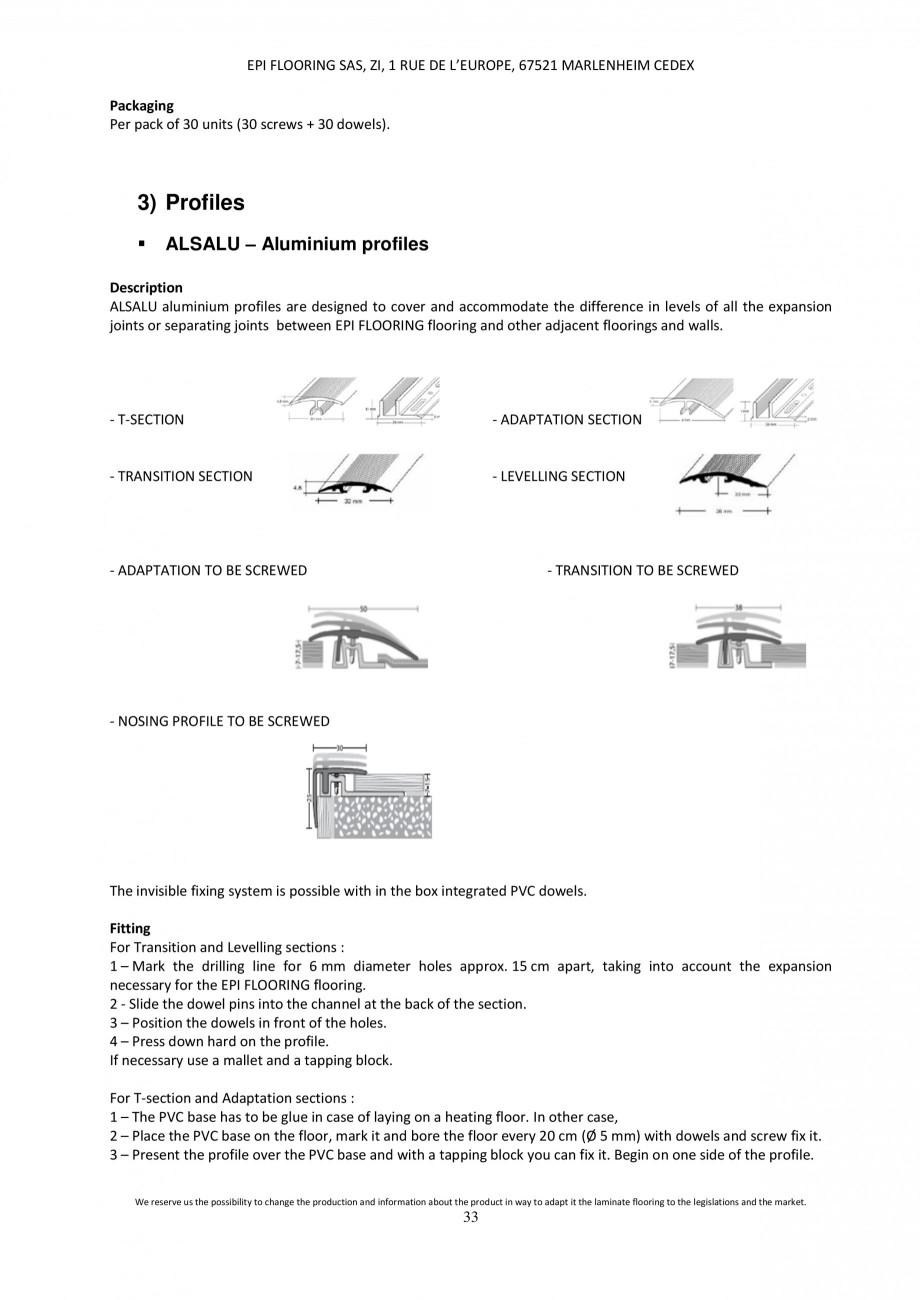 Pagina 33 - Parchet laminat - Utilizare, montaj si informatii - Alsafloor ALSAFLOOR Sardinia Oak 619...