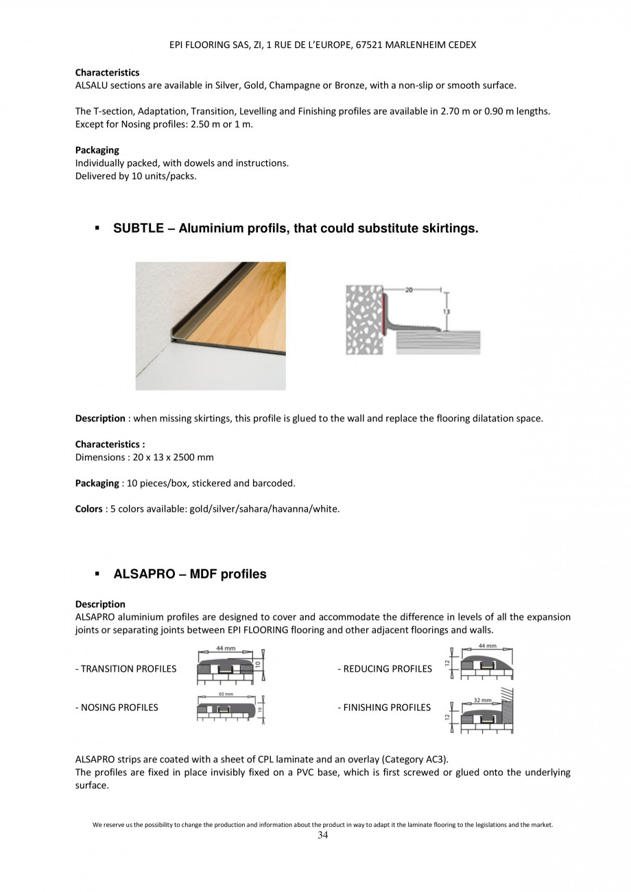 Pagina 34 - Parchet laminat - Utilizare, montaj si informatii - Alsafloor ALSAFLOOR Sardinia Oak 619...