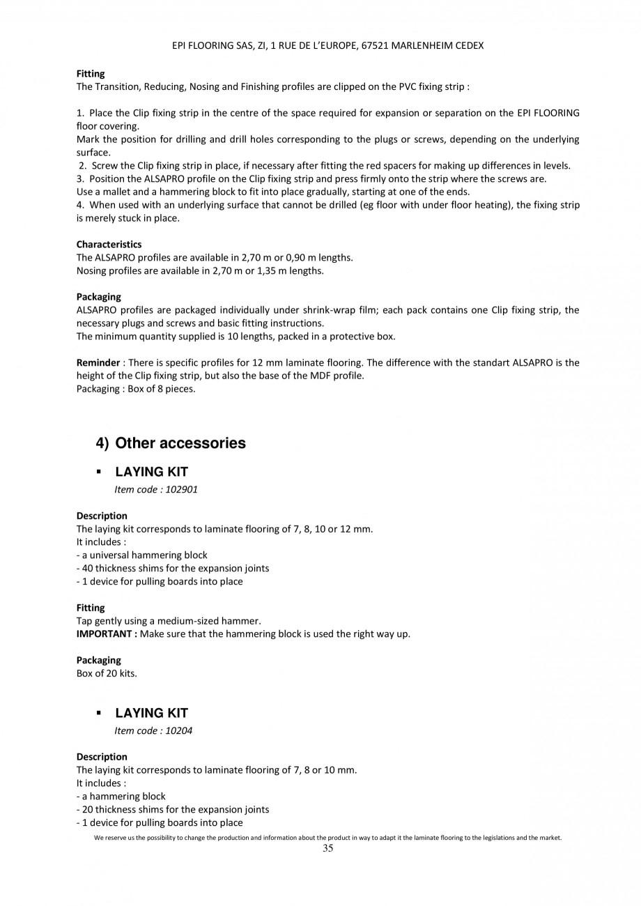 Pagina 35 - Parchet laminat - Utilizare, montaj si informatii - Alsafloor ALSAFLOOR Sardinia Oak 619...