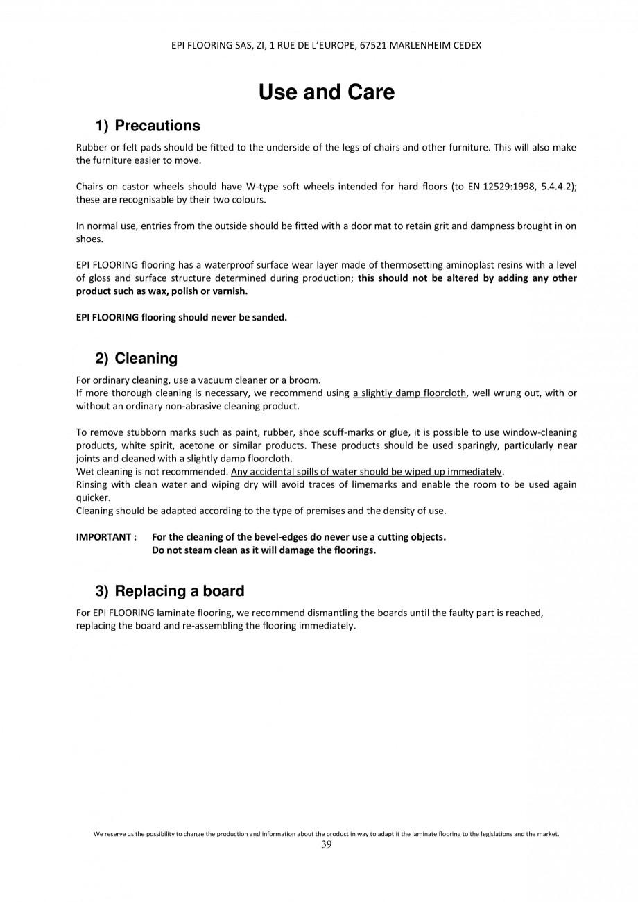 Pagina 39 - Parchet laminat - Utilizare, montaj si informatii - Alsafloor ALSAFLOOR Sardinia Oak 619...
