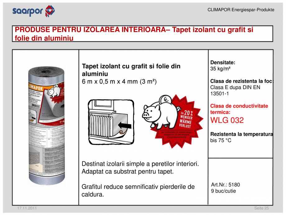 Pagina 1 - Tapet izolant cu grafit si folie din aluminiu CLIMAPOR Fisa tehnica Romana CLIMAPOR...