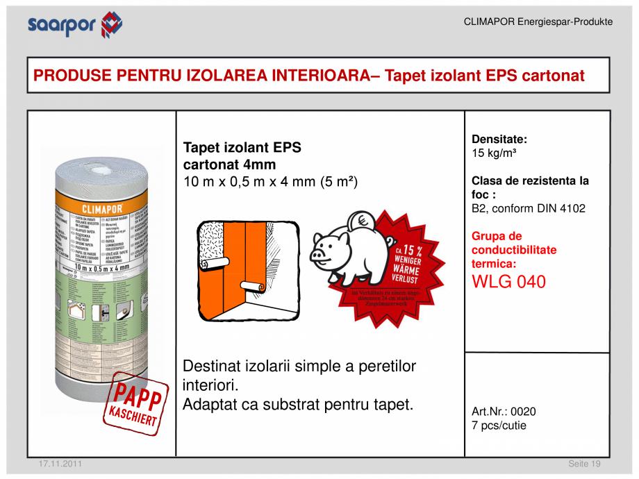Pagina 1 - Tapet izolant EPS cartonat 4 mm CLIMAPOR Fisa tehnica Romana CLIMAPOR...