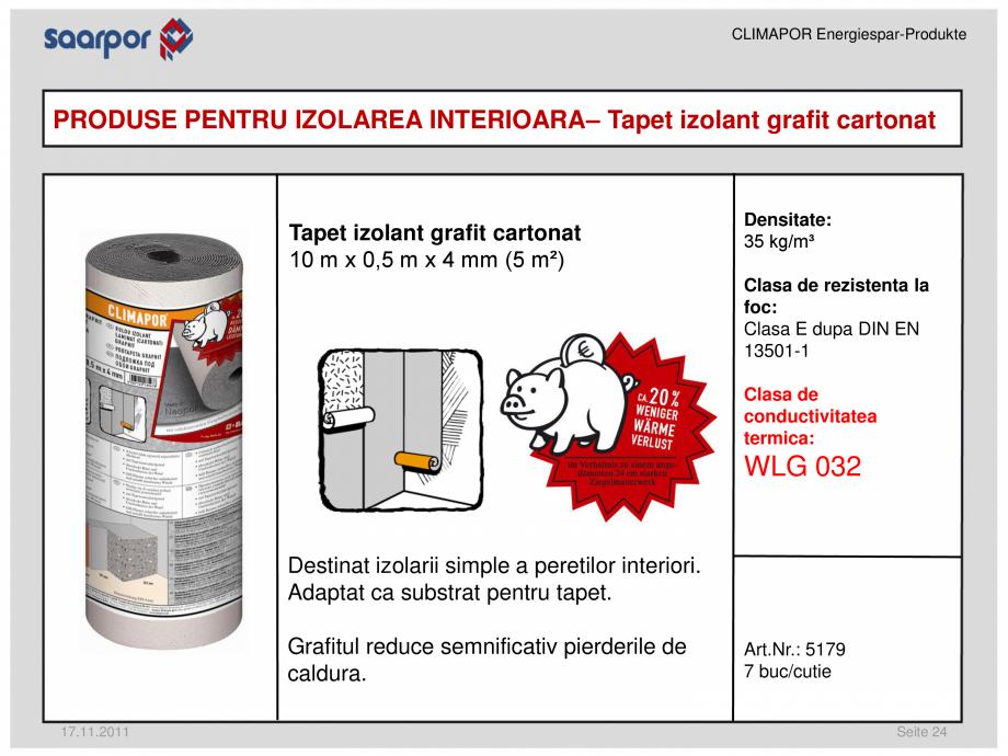 Pagina 1 - Tapet izolant grafit cartonat CLIMAPOR Fisa tehnica Romana CLIMAPOR Energiespar-Produkte ...