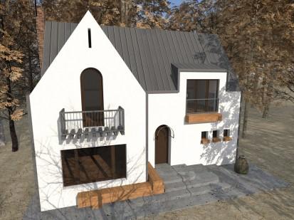 Casa de vacanta P+M - Nistoresti - Breaza -fatada alba balcoane si intrarea P+M - Nistoresti