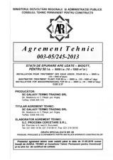Agrement tehnic - Statii de epurare ape uzate GALAXY TERMO TRADING
