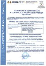 Certificat de conformitate a controlului productiei in fabrica
