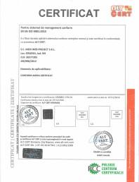 Certificat pentru sistemul de management conform SR EN ISO 9001:2015