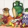 Decor plita cu fructe, legume si vase de lut