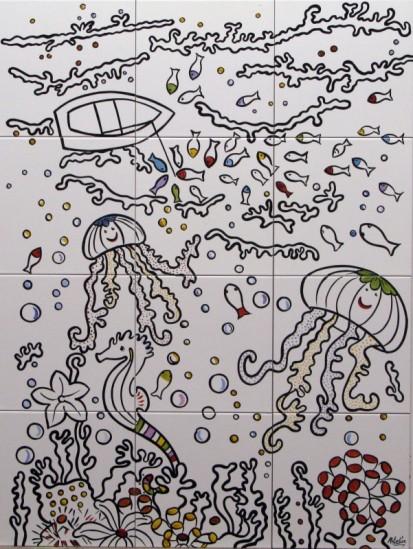 Peisaj subacvatic caluti de mare, pesti ... fond alb Faianta pictata pentru baie