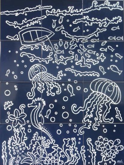 Peisaj subacvatic caluti de mare, pesti ... fond bleu marine Faianta pictata pentru baie