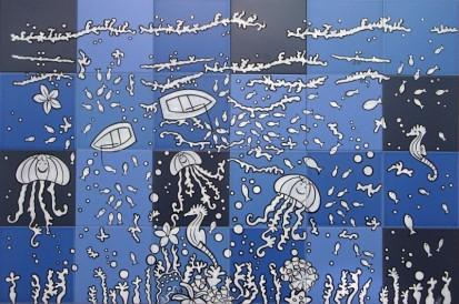 Peisaj subacvatic caluti de mare, pesti ... jocuri albastru Faianta pictata pentru baie