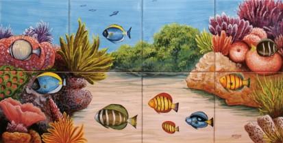 Peisaj subacvatic corali si pesti Faianta pictata pentru baie