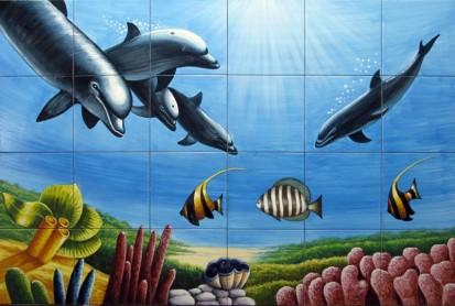 Peisaj subacvatic delfini Faianta pictata pentru baie