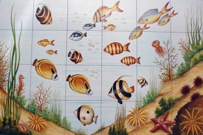 Peisaj subacvatic pesti Faianta pictata pentru baie