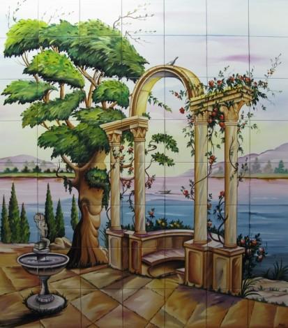 Gradina cu fantana arteziana si coloane pe malul lacului Faianta pictata pentru dormitor