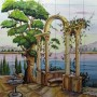 Gradina cu fantana arteziana si coloane pe malul lacului