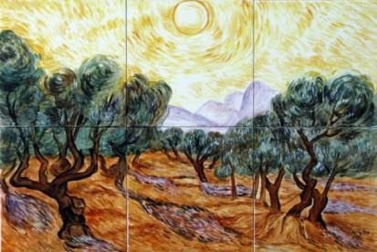 Maslini cu cer galben si soare Faianta pictata pentru dormitor