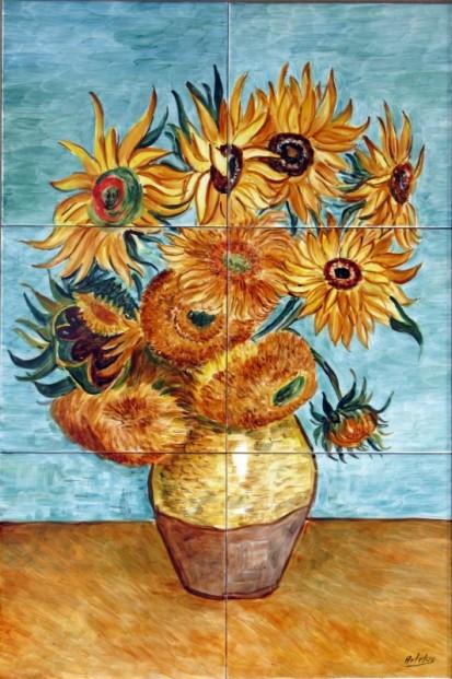 Vaza cu floarea-soarelui Faianta pictata pentru dormitor