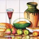 Decor cu fructe, paine si vin - Faianta pictata manual pentru amenajarea bucatariilor - ARTELUX