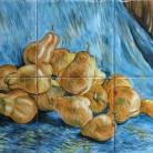 Decor plita cu pere pe fundal albastru - Faianta pictata manual pentru amenajarea bucatariilor - ARTELUX