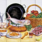 Decor plita cu peste fructe de mare si ingrediente - Faianta pictata manual pentru amenajarea bucatariilor