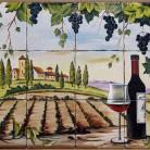 Decor plita rustic cu vita-de-vie si sticla de vin - Faianta pictata manual pentru amenajarea bucatariilor