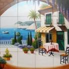 Terasa pe malul marii - Faianta pictata manual pentru amenajarea bucatariilor - ARTELUX