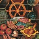 Decor plita gatind fructe de mare - Faianta pictata manual pentru amenajarea bucatariilor - ARTELUX
