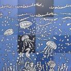 Peisaj subacvatic caluti de mare, pesti - jocuri albastru - Faianta pictata pentru baie - ARTELUX
